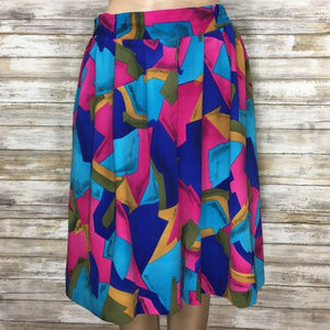 Vintage Vibrant Abstract Print High Rise Shorts